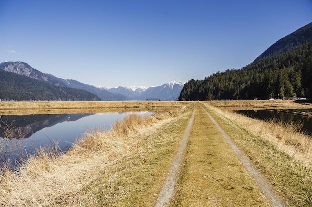 Landschap van de smient slough omgeven door heuvels onder het zonlicht in british columbia, canada