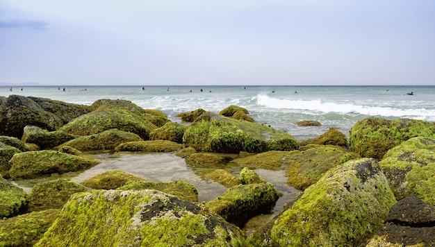 Landschap van een kust bedekt met stenen en mossen omgeven door de zee met surfers erop