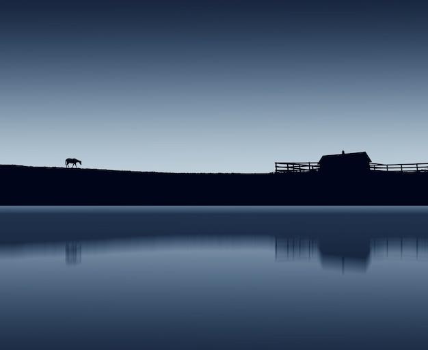 Landschap van een paardsilhouet dat 's nachts bij het meer loopt