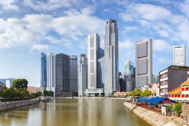 Landschap van het financiële district van singapore en de bedrijfsbouw