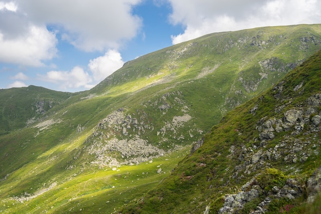 Landschap van heuvels bedekt met rotsen en groen onder een bewolkte hemel en zonlicht