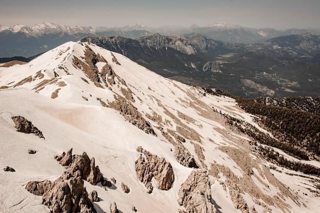 Landschap van hooglanden bedekt met een sneeuw