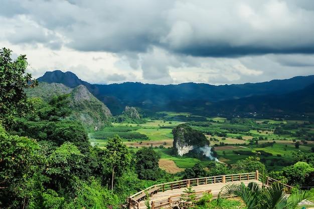 Landschap van phu lanka-berg bospark in phayao-provincie thailand