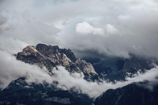 Landschap van rotsen bedekt met bossen en mist onder een bewolkte hemel
