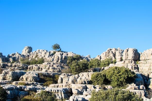 Landschap van rotsen in het park el torcal national park, torcal de antequera, provincie malaga, andalusië, spanje