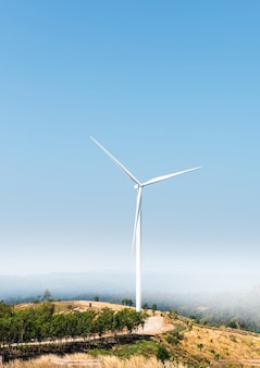 Landschap windmolen op heuvel