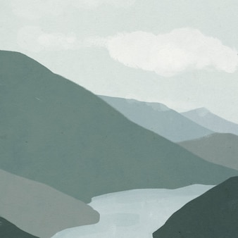 Landschapsachtergrond van bergen met rivierillustratie