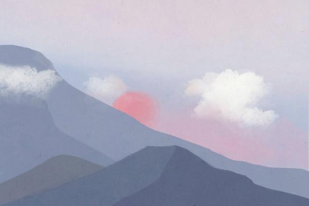 Landschapsachtergrond van bergen met zonsondergangillustratie