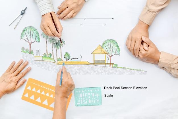 Landschapsarchitect die tekening verandert tijdens ontmoeting met klant