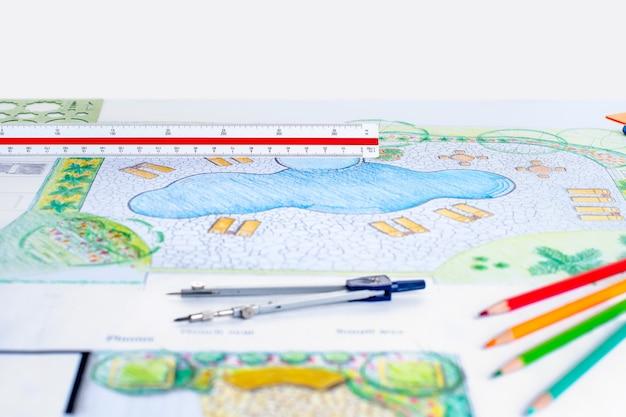 Landschapsarchitect ontwerp achtertuin zwembad plan voor resort