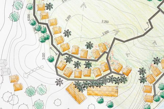 Landschapsarchitect ontwerpen op locatie-analyseplan