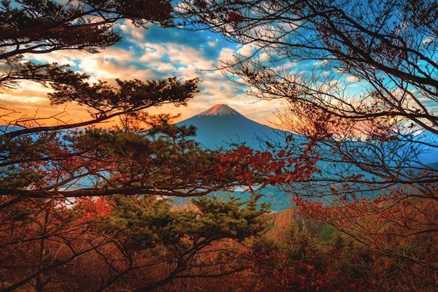 Landschapsbeeld van mt. fuji over lake kawaguchiko met herfst gebladerte bij zonsopgang in fujikawaguchiko, japan.