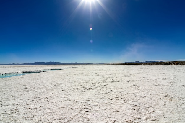 Landschapsmening van salt lake in salta, argentinië