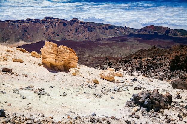 Landschapsmening vanaf de top van de vulkanische berg teide in tenerife, spanje
