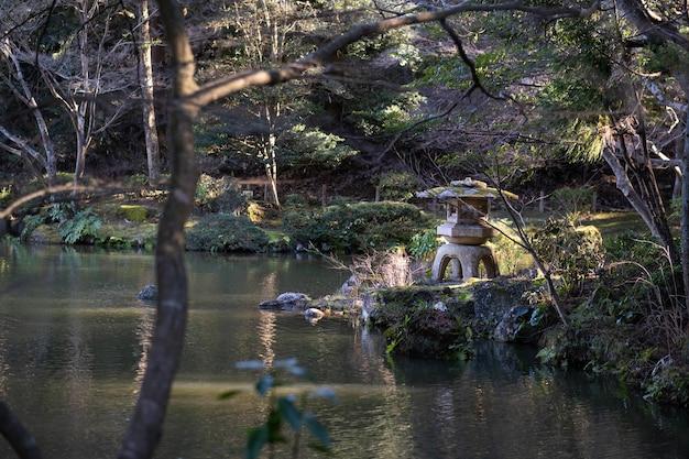Landschapsopname van een meer omringd door bomen