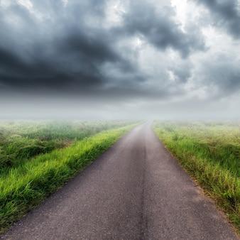 Landweg op veld en onweerswolken of regenwolken