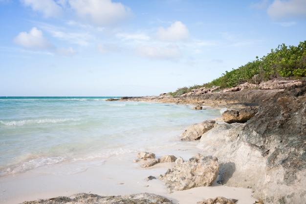 Lang geschotene wilde strandkustlijn