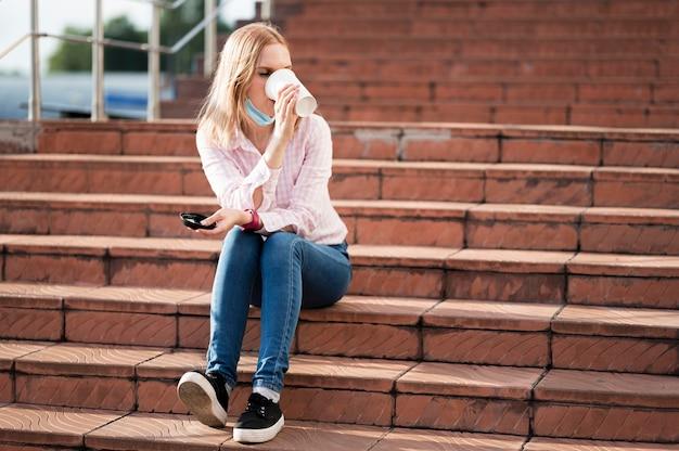 Lang schot van sociaal afstandsconcept