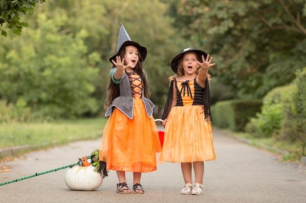 Lang shot van schattige kleine meisjes met halloween-kostuums