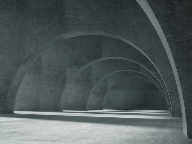 Lange betonnen gang met licht en schaduw.