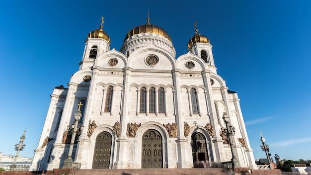 Lange blootstellingsbeeld van kathedraal van christus de verlosser moskou rusland