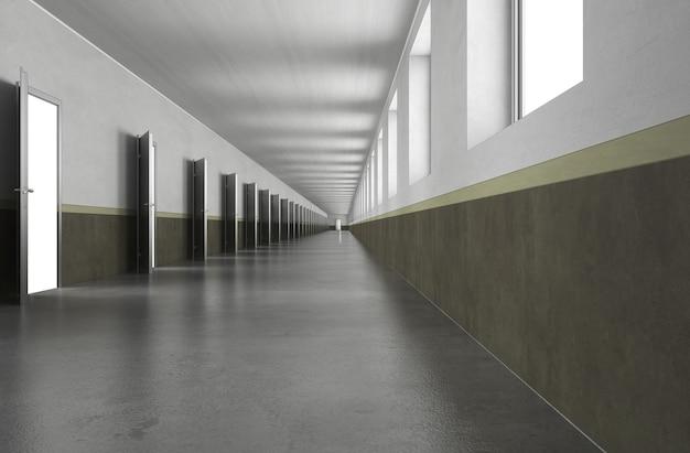Lange gang interieur visualisatie 3d illustratie