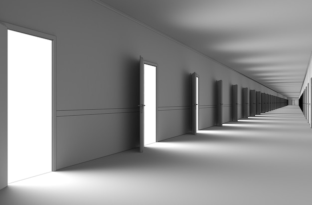 Lange gang met deuren interieur visualisatie 3d illustratie