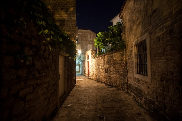 Lange oude smalle straat verlicht door gaslantaarns 's nachts