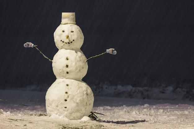 Lange sneeuwman bij de winternacht in het park in openlucht.