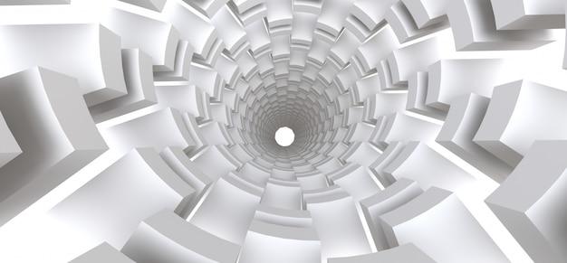 Lange witte tunnel als abstracte achtergrond voor uw ontwerp. 3d-illusie.