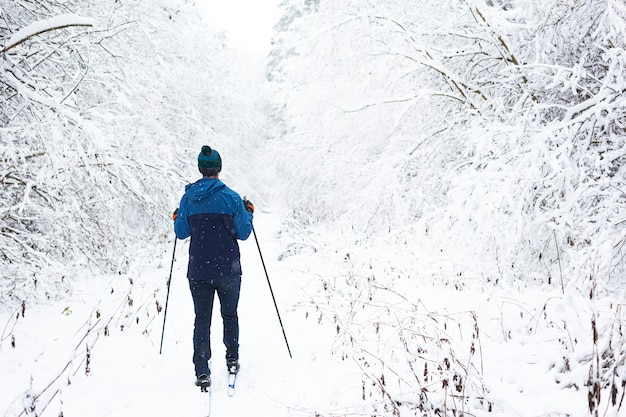 Langlaufen in winterbos, skiër in hoed met pompon met skistokken