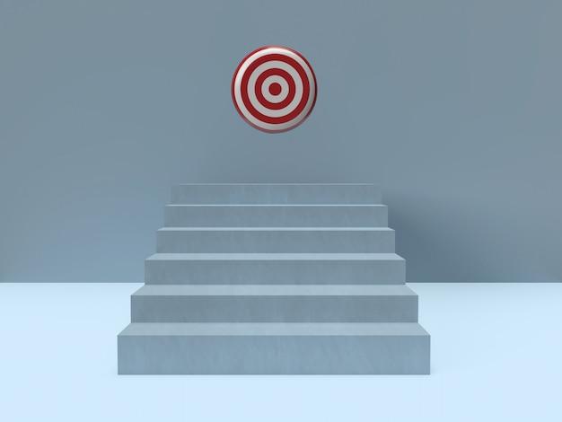 Langste lichte ladder gloeiend en gericht op het centrale bedrijfsdoel.