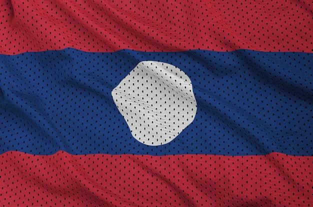 Laos vlag gedrukt op een polyester nylon sportkleding mesh stof