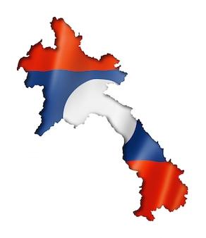 Laos vlag kaart