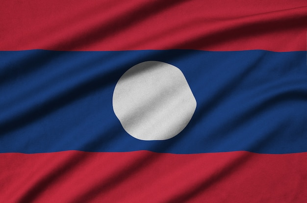 Laos vlag met veel plooien.