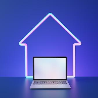 Laptop computer leeg scherm met home vorm lijn neon plaats op blauwe achtergrond. 3d illustratie afbeelding