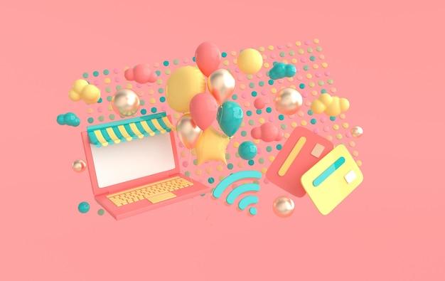 Laptop creditcard ballonnen wifi symbool wolken 3d render