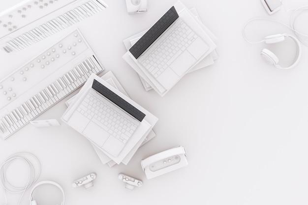Laptop die door witte gadgets bij het witte 3d teruggeven omringt
