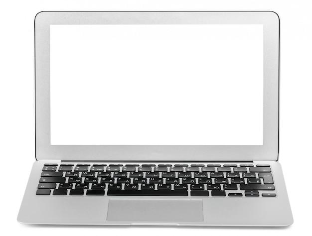 Laptop die op wit wordt geïsoleerd