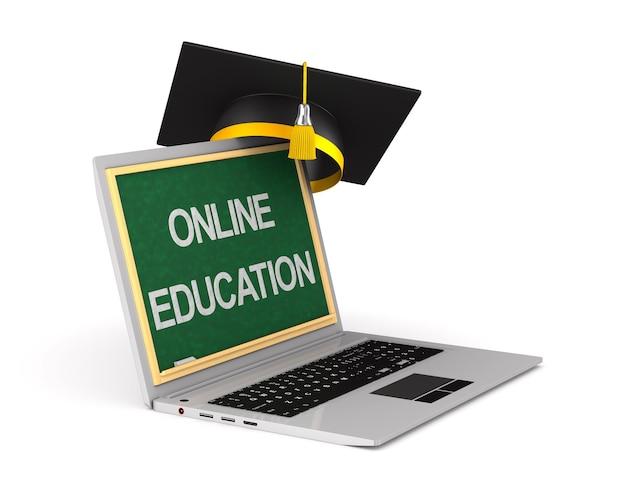 Laptop en afstuderen glb op witte achtergrond. geïsoleerde 3d-afbeelding