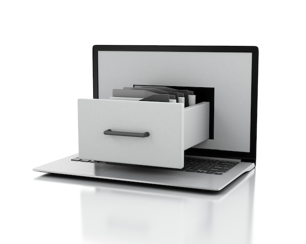 Laptop en archiefkast met mappen. data opslag concept. 3d illustratie.