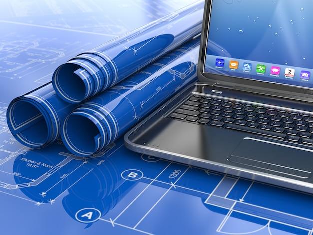 Laptop en blauwdruk met huisproject. 3d