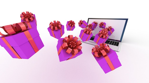 Laptop en geschenken op wit