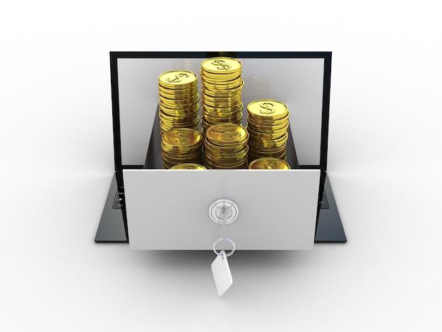 Laptop en gouden geld