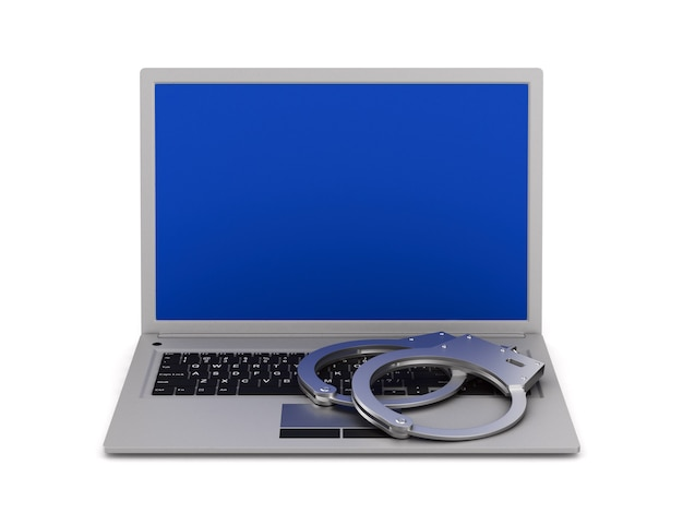 Laptop en handboei op witte achtergrond. geïsoleerde 3d-afbeelding