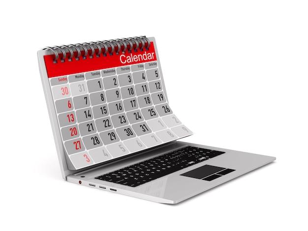 Laptop en kalender op witte achtergrond. geïsoleerde 3d-afbeelding
