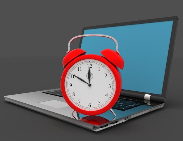 Laptop en klok. 3d illustratie op zwart