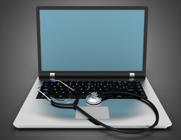 Laptop en stethoscoop. reparatie dienstverleningsconcept. 3d illustratie