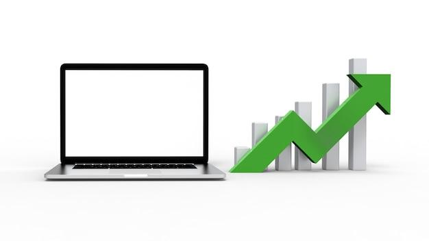 Laptop geïsoleerd op een witte achtergrond met pijl grafiek.