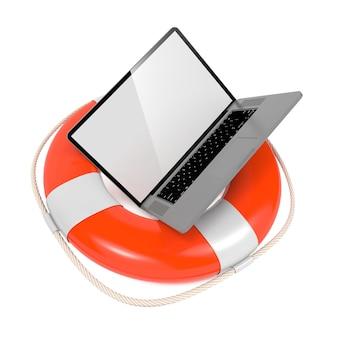 Laptop in reddingsboei op wit wordt geïsoleerd dat. ondersteuning en serviceconcept.